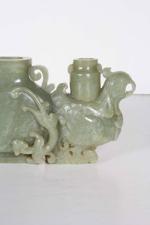 Antique Chinese Celadon Green Jade Carving Triple Vase Qing
