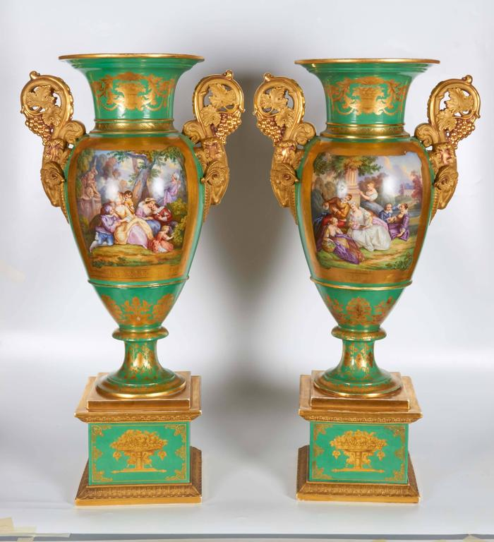 Monumental Pair of French Paris Porcelain Botanical Painted Vases with Rams Head For Sale 1