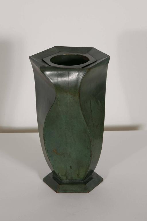 Exceptional bronze vase by Jean Dunand. Green patina. Signed Jean Dunand below the base, 1920s.