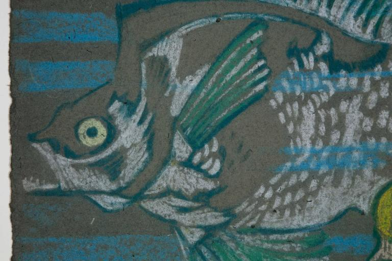 Wallpaper design. Pastel drawing on very thick paper representing fish, France, Art Deco, 1920s. Dimensions: 50 x 30cm excl frame. Two other wallpaper designs are available with similar patterns.