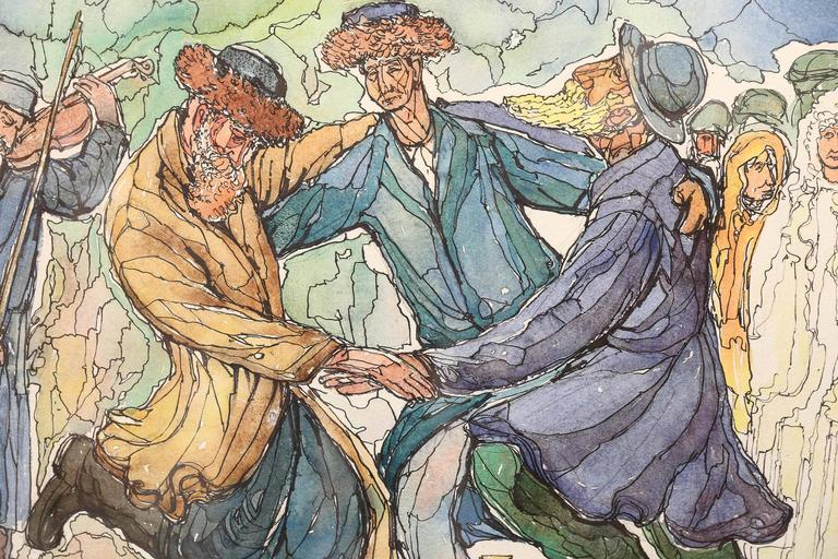 Chaim Goldberg (1917-2004).  Today, the similarities in style between Chagall and Goldberg are obvious. With his artwork, Goldberg with bright, cheerful colors has told the story of Jewish life in a period seldom remembered--the joy of life in the