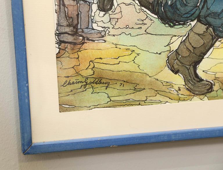 Mid-Century Modern Chaim Goldberg Watercolor Painting For Sale