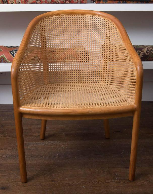 Pair of Ward Bennett chair. Wood and cane.