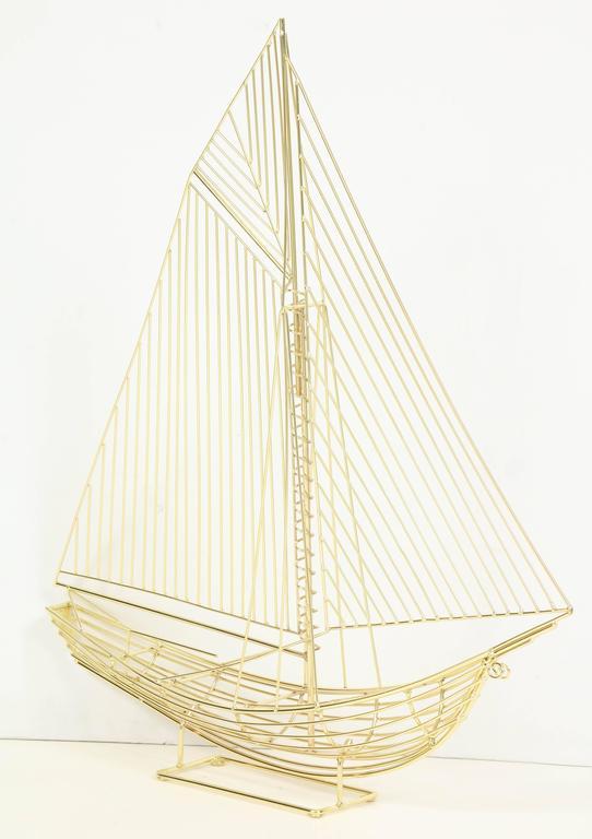 Large Signed Curtis Jere Polished Brass Sail Boat Sculpture 2