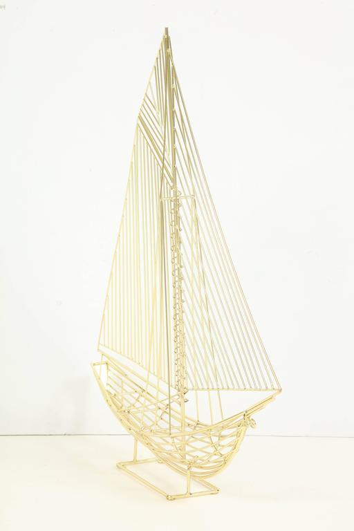 Mid-Century Modern Large Signed Curtis Jere Polished Brass Sail Boat Sculpture For Sale