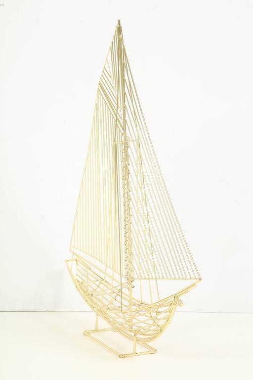Large Signed Curtis Jere Polished Brass Sail Boat Sculpture 3