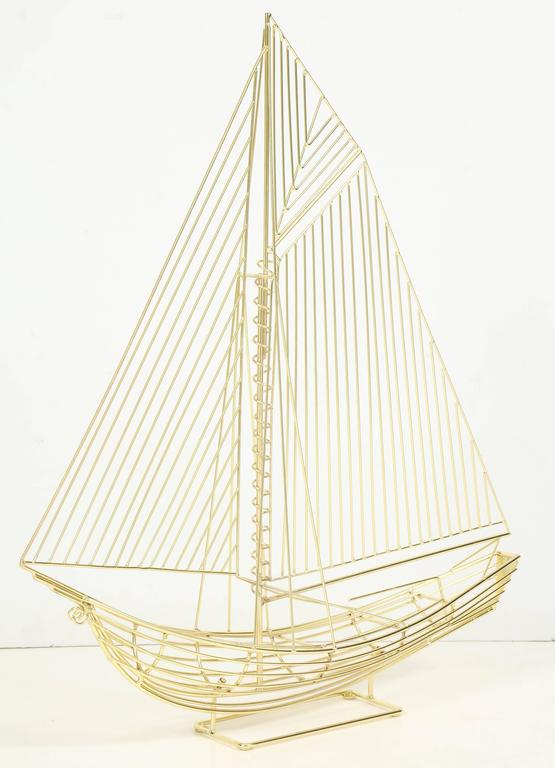 American Large Signed Curtis Jere Polished Brass Sail Boat Sculpture For Sale