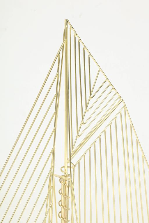 20th Century Large Signed Curtis Jere Polished Brass Sail Boat Sculpture For Sale