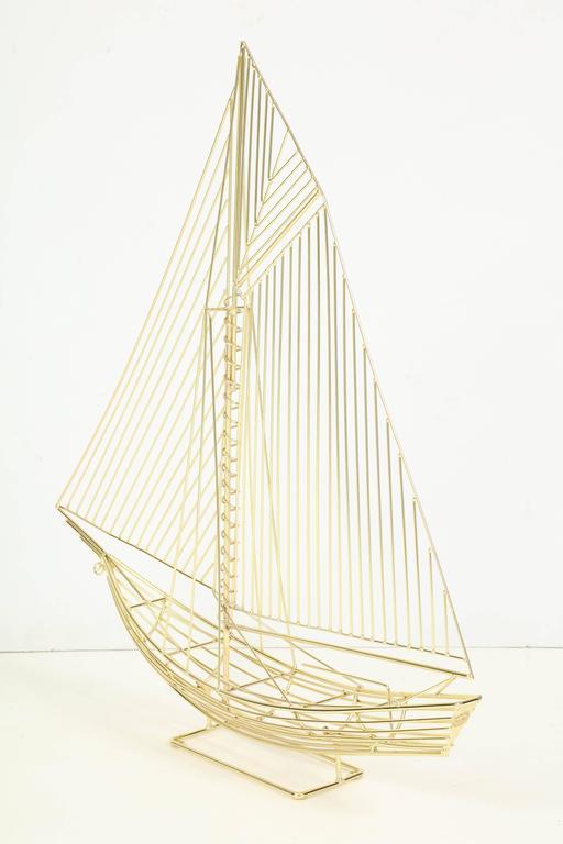 Large Signed Curtis Jere Polished Brass Sail Boat Sculpture 9