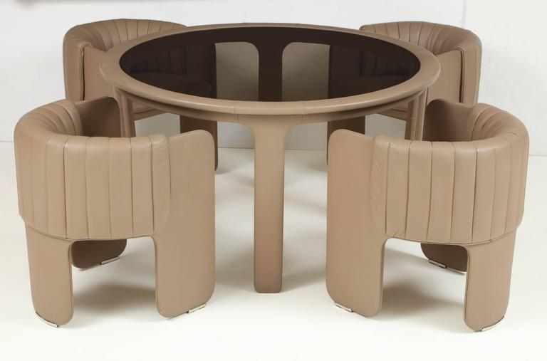 Signed Italian Mid-Century Modern Poltrona Frau Dining or Game Table with Chairs 2