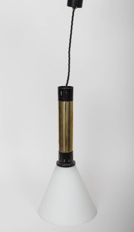 Stilnovo hanging light varnished metal and brass, 1950s.