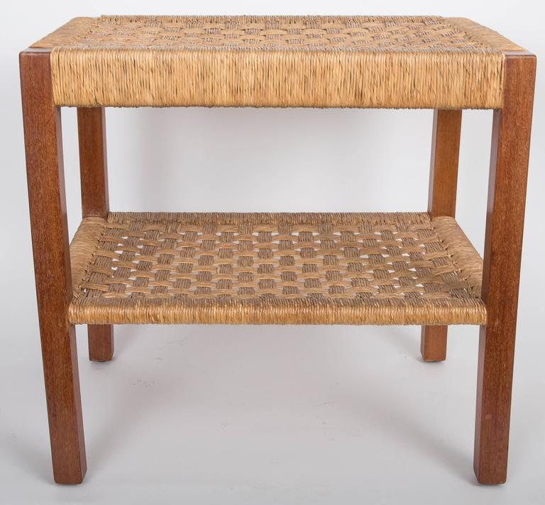 Walnut and Rush Two-Tiered Side Table 2