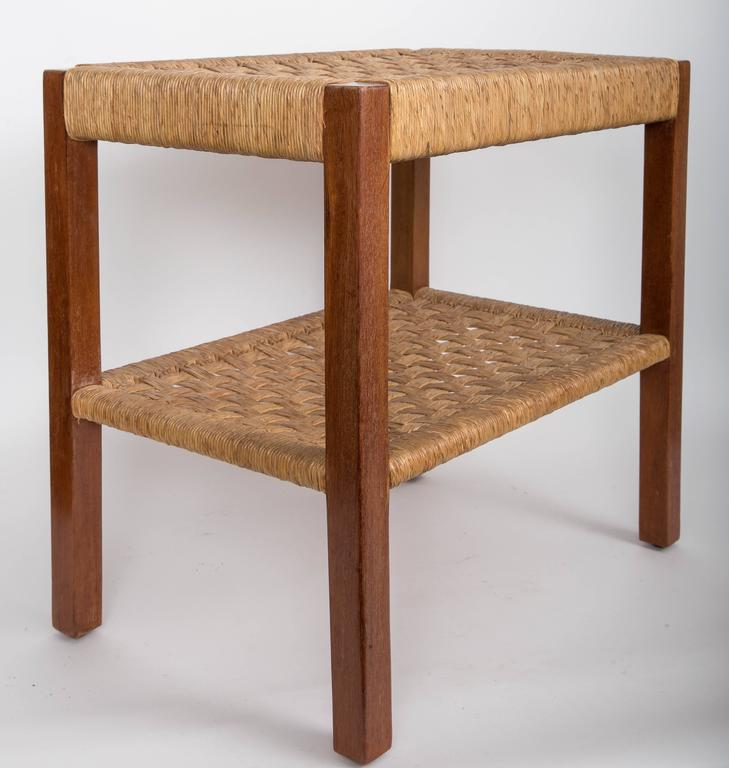Walnut and Rush Two-Tiered Side Table 8