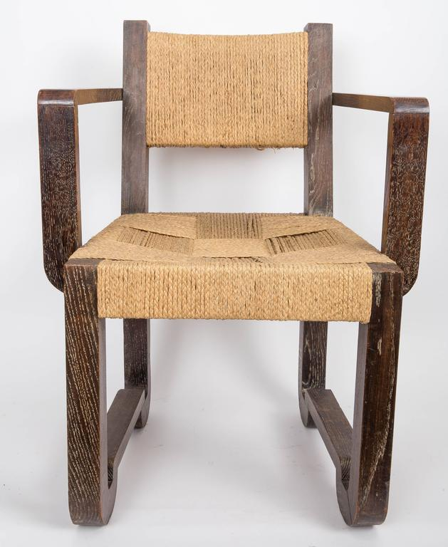 French Set of Four Wooden and Rush Side Chairs For Sale