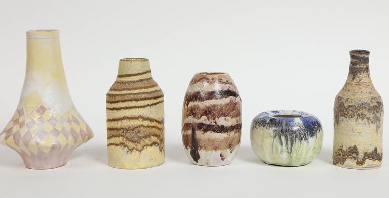 Mid-Century Modern Marcello Fantoni Small Ceramic Vases, circa 1960s - 1970s For Sale