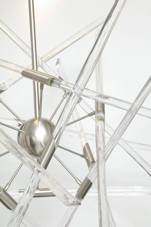 Contemporary Barry Entner Tangent Glass and Metal Chandelier, 2016 For Sale