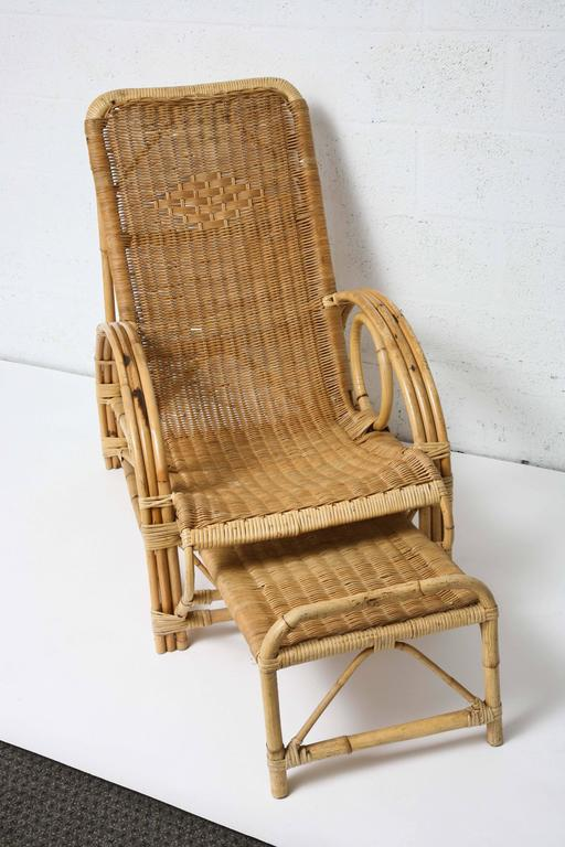 Nice vintage french provence bamboo and rattan longue for Chaise longue rattan sintetico