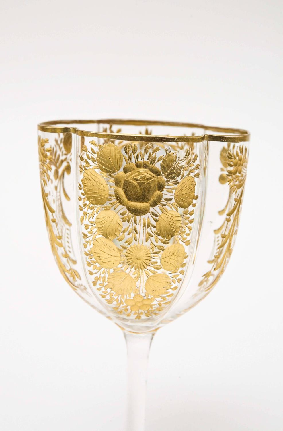 Four Antique Moser Wine Glasses, Cut and Hand Decorated with ...