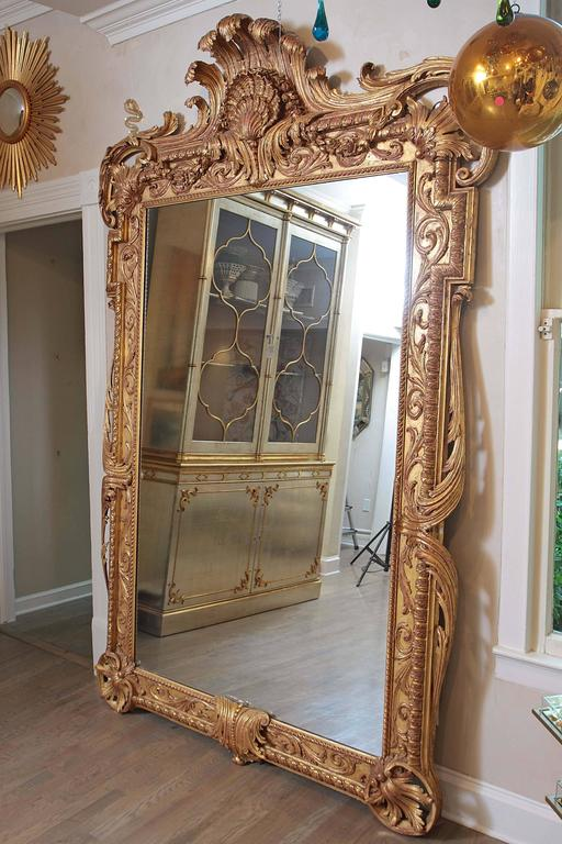 extra large full length gold rococo dress mirror for sale at 1stdibs. Black Bedroom Furniture Sets. Home Design Ideas