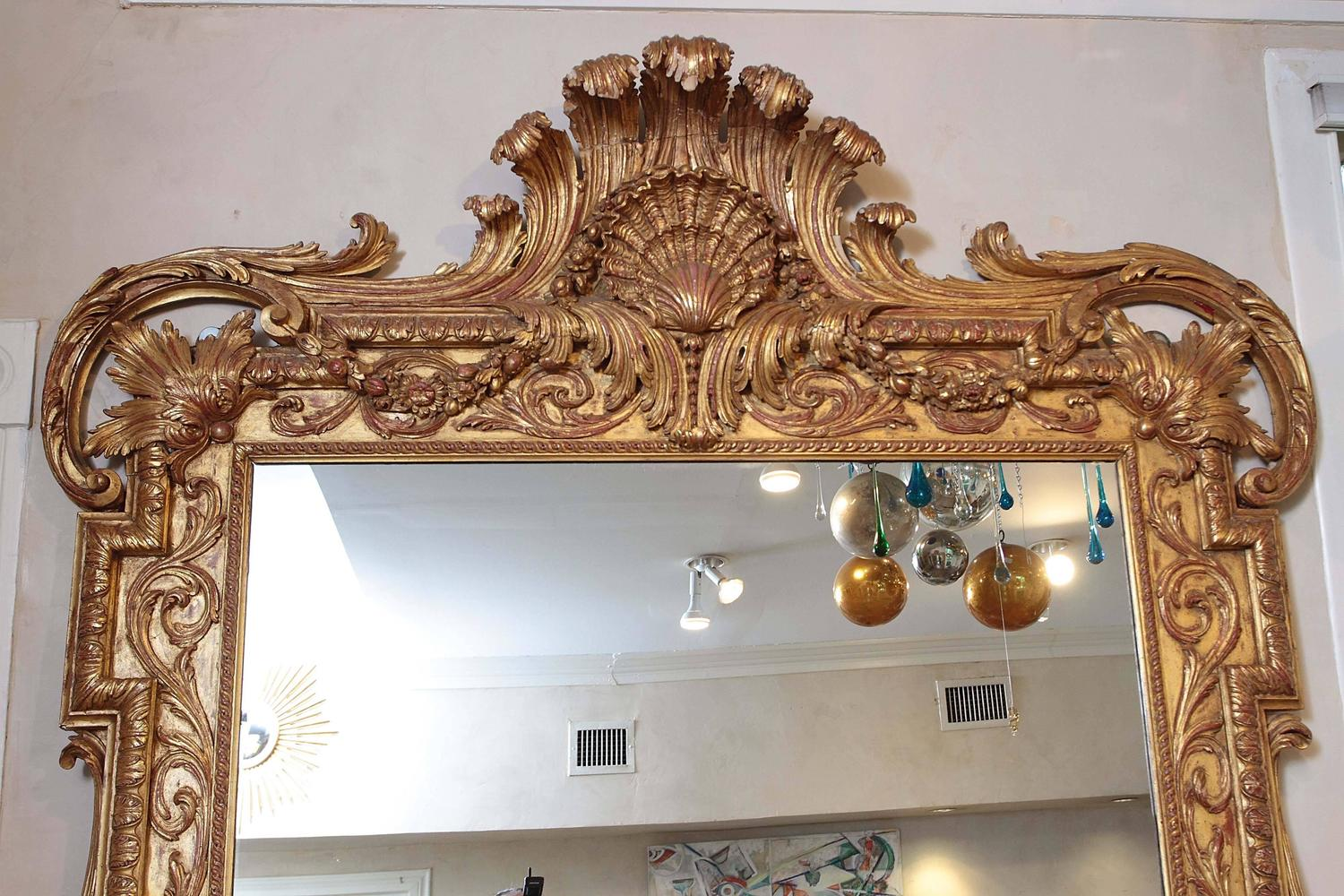 Extra large full length gold rococo dress mirror for sale for Large floor length mirrors for sale