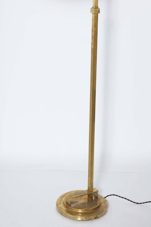 American Donald Deskey Art Deco Brass Floor Lamp with Off White Linen Shade, 1930's  For Sale