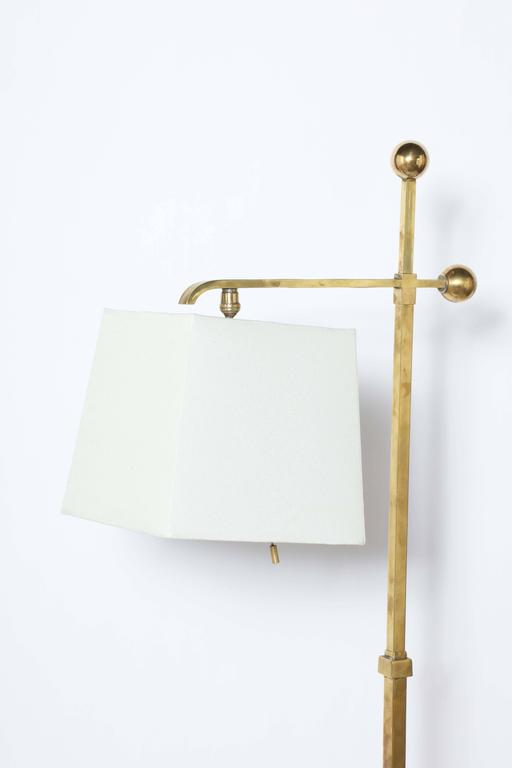 Donald Deskey Art Deco Brass Floor Lamp with Off White Linen Shade, 1930's  For Sale 2