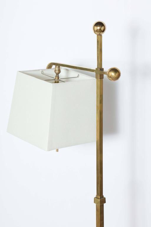 Donald Deskey Art Deco Brass Floor Lamp with Off White Linen Shade, 1930's  For Sale 3