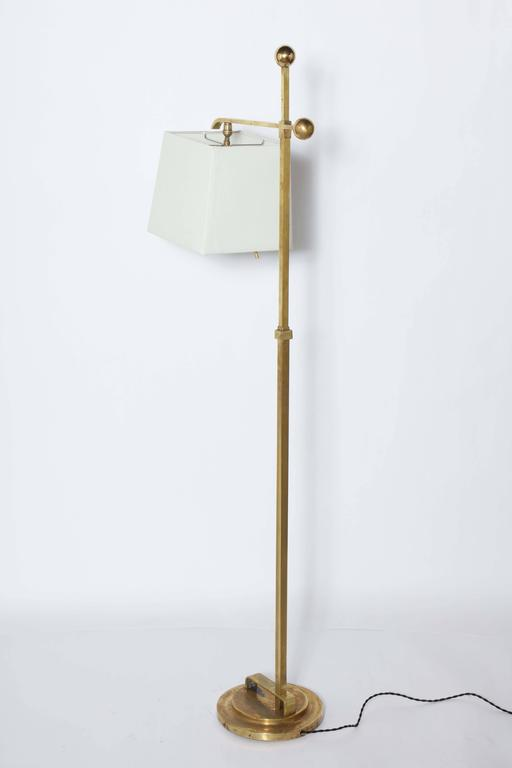 Donald Deskey Art Deco Brass Floor Lamp with Off White Linen Shade, 1930's  For Sale 4