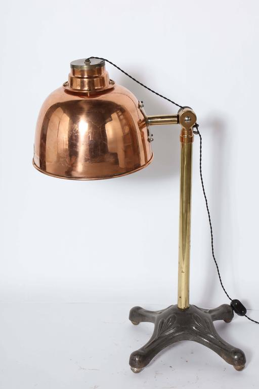 Large early electric infralite brass steel and copper for Big copper floor lamp