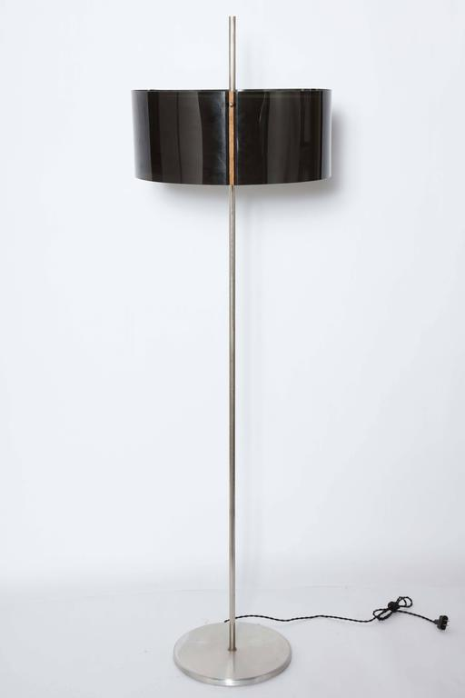 Brushed Aluminum Floor Lamp With Two Smoked Lucite Shades