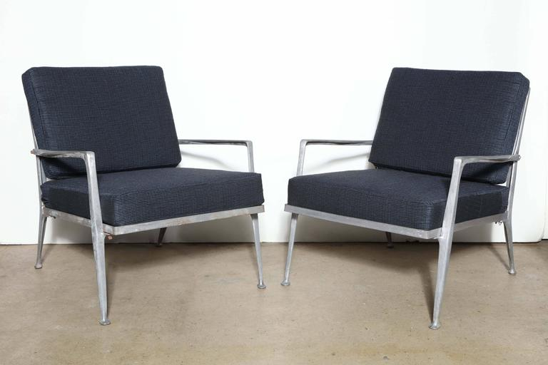 Elegant Pair Of Hollywood Regency Molla Furniture Solid Cast Aluminum  Lounge Chairs, Indoor Outdoor Armchairs
