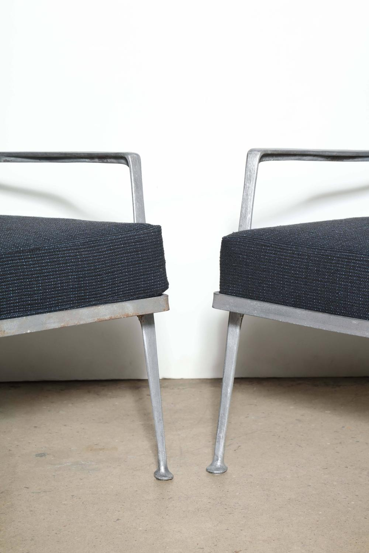 Rare Pair Of 1950 S Cast Aluminum Garden Armchairs For