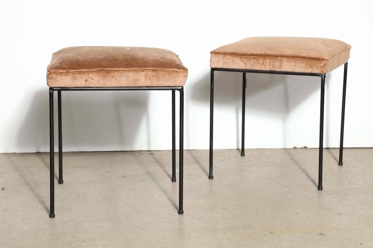 Pair Of 1950s Frederick Weinberg Wrought Iron And Cashmere