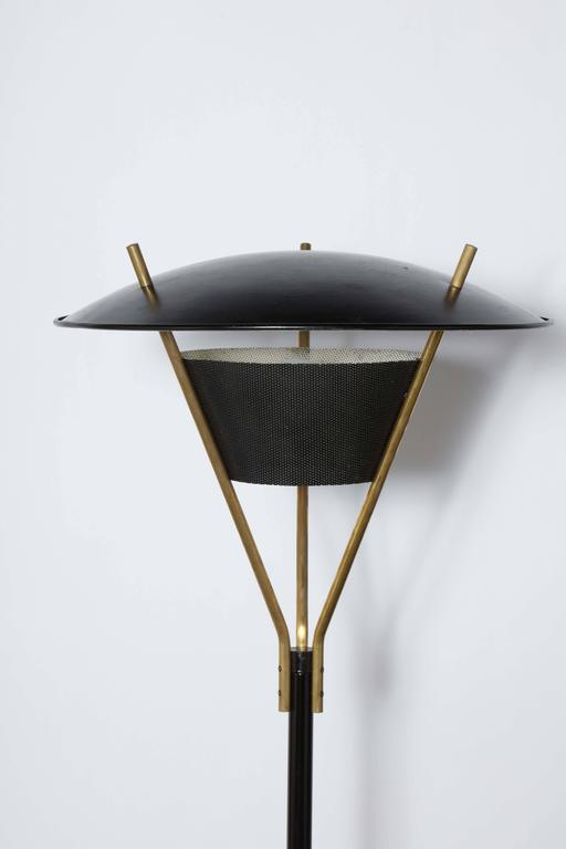 1950s Thomas Moser Tall Floor Lamp With Black Enameled