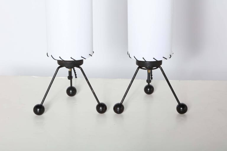 Black Wire Tripod Table Lamps With White Linen Shades,