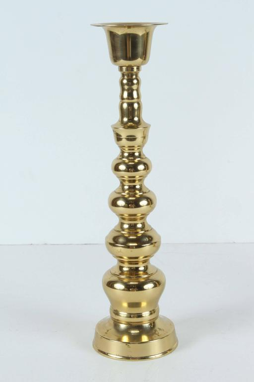 Chinese Export Pair of Polished Victorian Brass Candlesticks For Sale