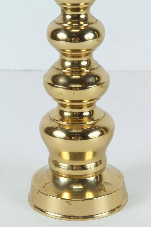 Cast Pair of Polished Victorian Brass Candlesticks For Sale