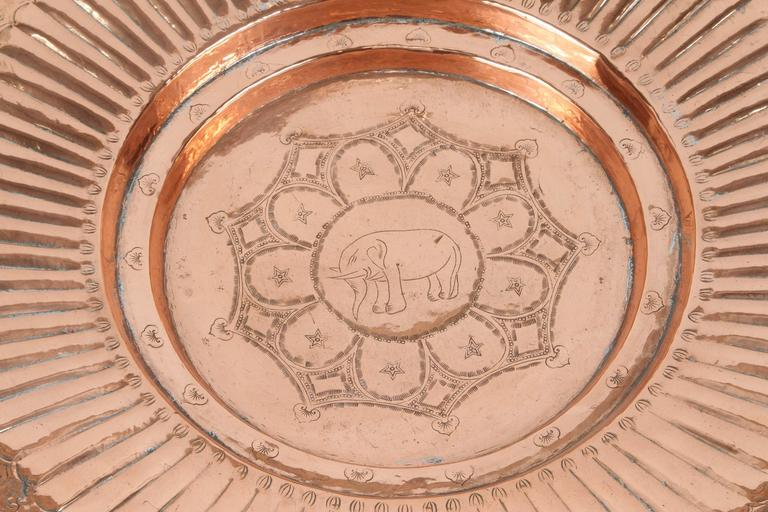 Anglo Raj Hanging Round Copper Asian Metal Bowl For Sale