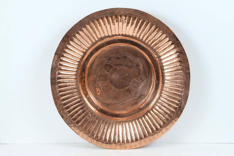 Brass Hanging Round Copper Asian Metal Bowl For Sale