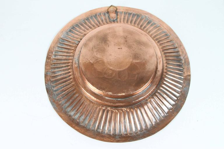 Hanging Round Copper Asian Metal Bowl For Sale 2
