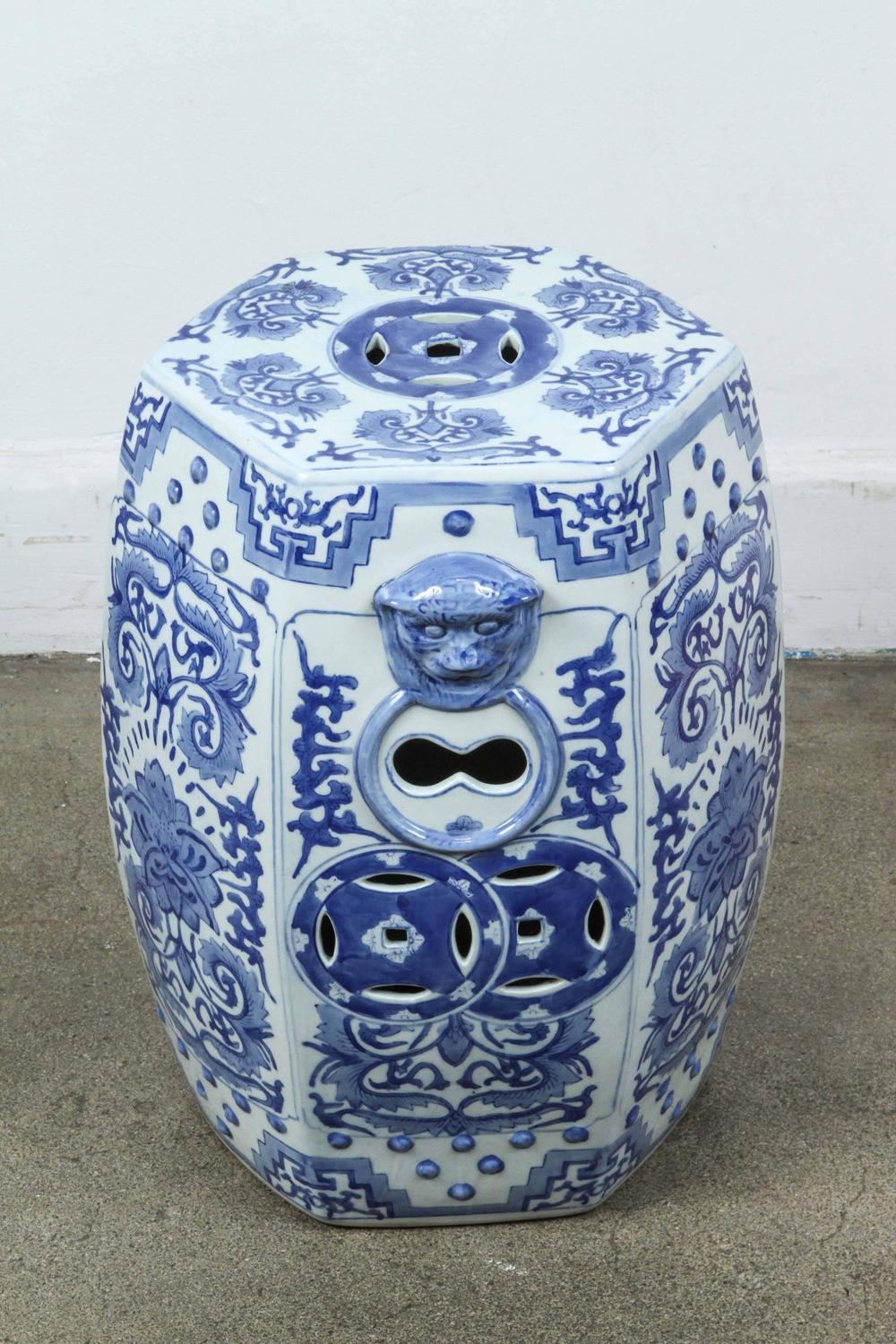Pair Of Blue And White Chine Ceramic Garden Stools For