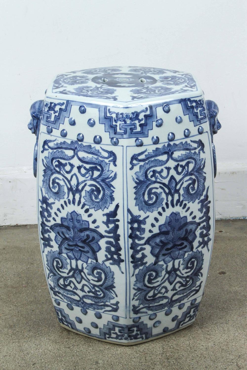 Pair Of Blue And White Chine Ceramic Garden Stools For Sale At 1stdibs