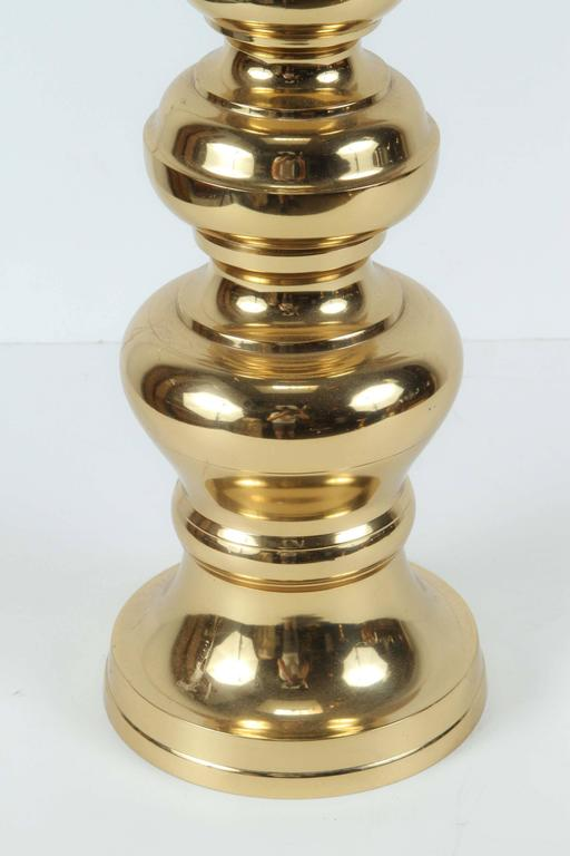Hand-Crafted Pair of Large Chinese Polished Brass Candlesticks For Sale