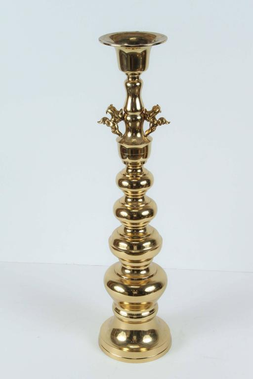 Pair of Large Chinese Polished Brass Candlesticks For Sale 1
