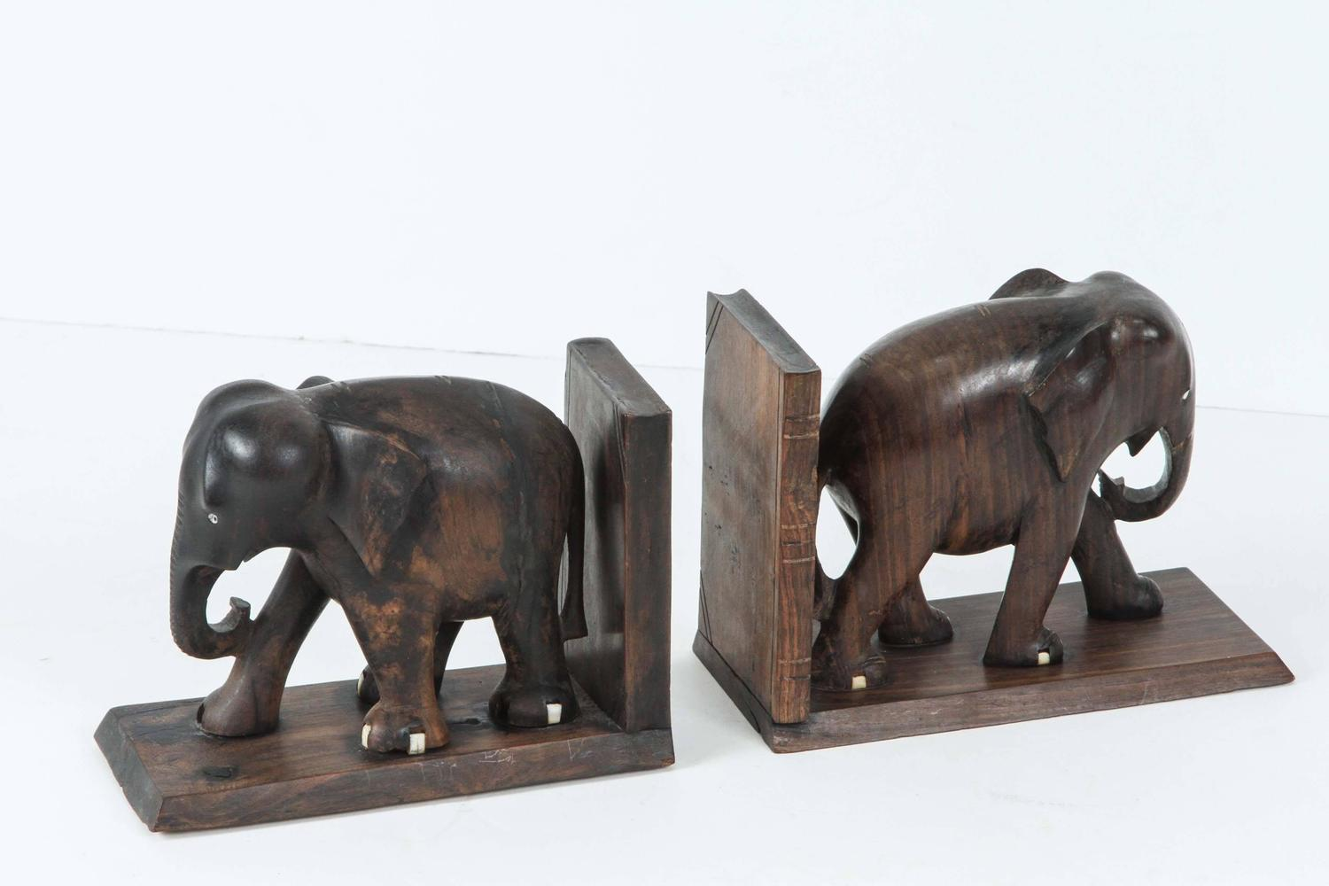 Ebony Hand Carved Elephant Bookends At 1stdibs