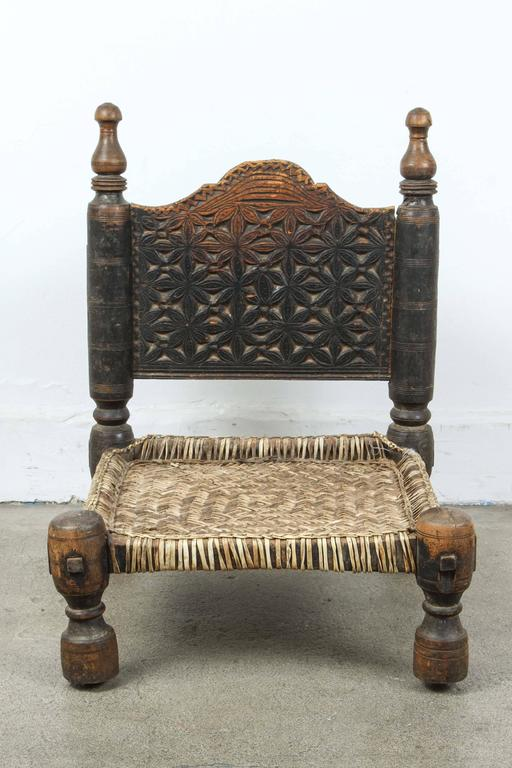 African Tribal Chair With Leather Seat At 1stdibs