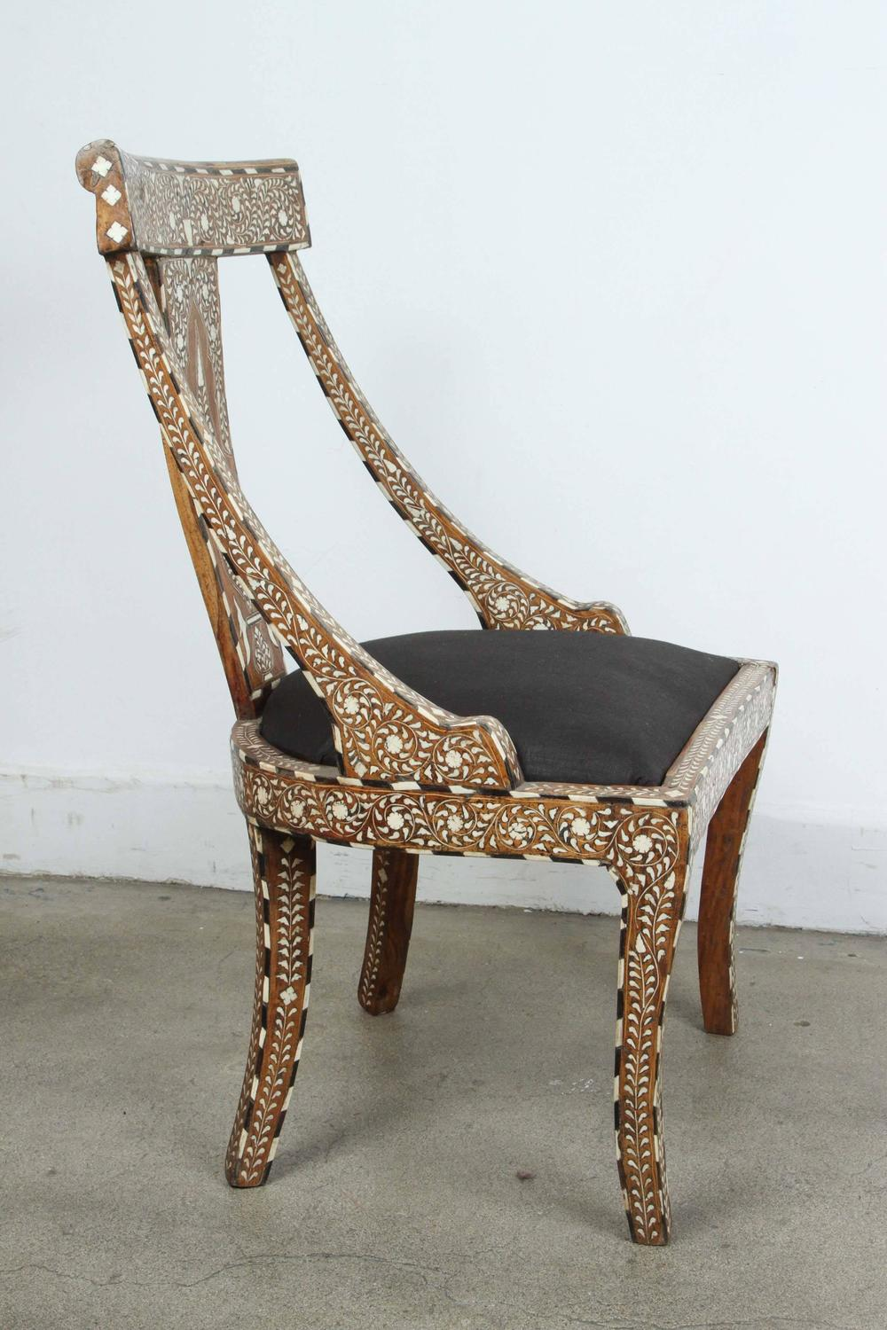 19th Century Anglo Indian Bone Inlay Side Chair For Sale