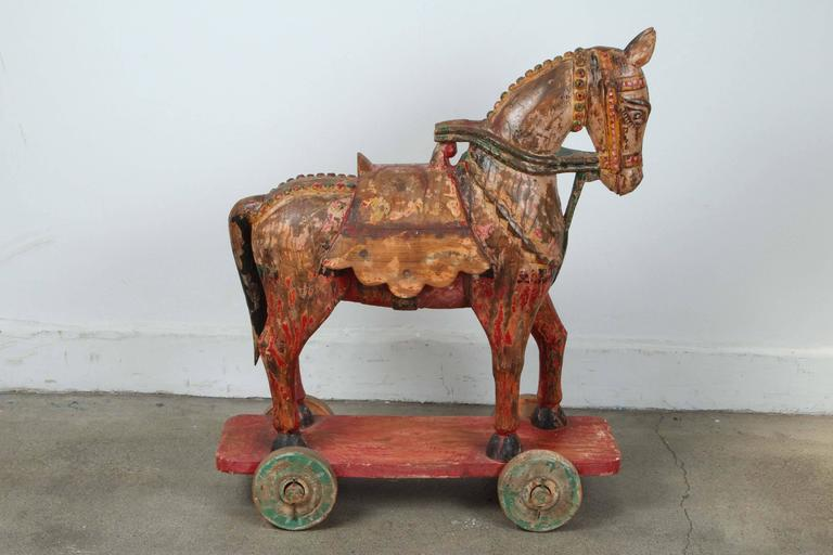 19th Century Wooden Oversized Temple Horses from India For Sale