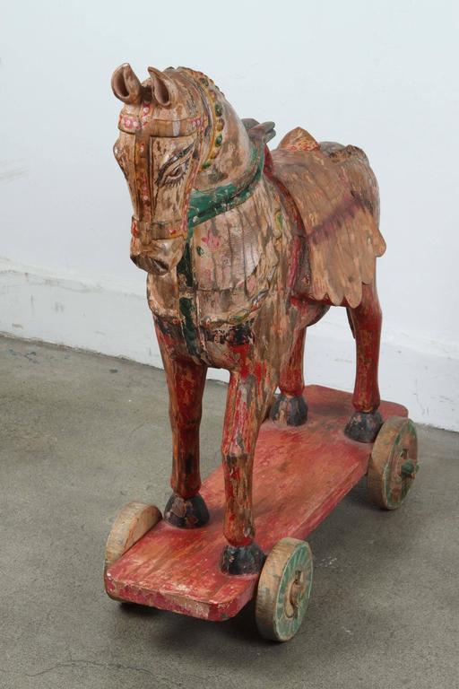 Wooden Oversized Temple Horses from India For Sale 3
