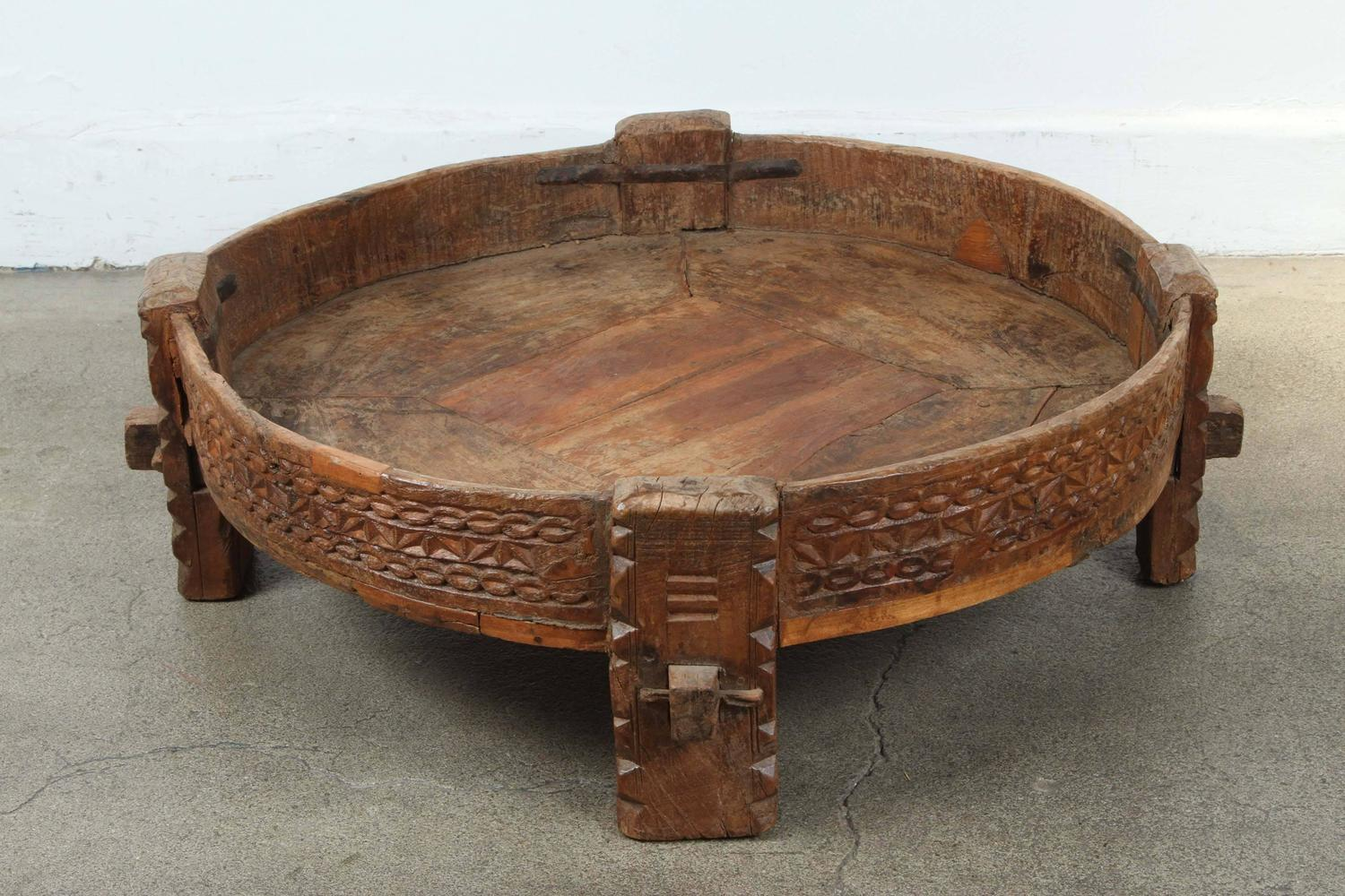 Moroccan Round Tribal Low Table at 1stdibs